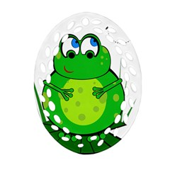 Green Frog Oval Filigree Ornament (2 Side)