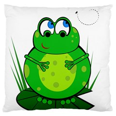 Green Frog Large Cushion Case (two Sides)