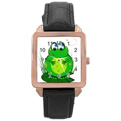 Green Frog Rose Gold Leather Watch