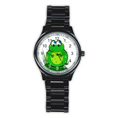 Green Frog Stainless Steel Round Watch