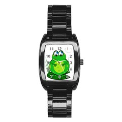 Green Frog Stainless Steel Barrel Watch