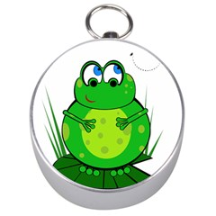 Green Frog Silver Compasses