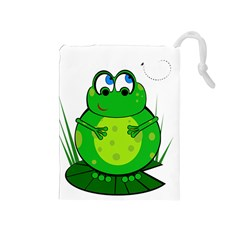 Green Frog Drawstring Pouches (Medium)