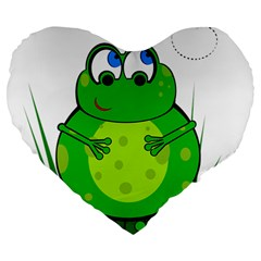 Green Frog Large 19  Premium Flano Heart Shape Cushions