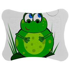 Green Frog Jigsaw Puzzle Photo Stand (Bow)