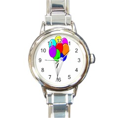 Colorful Balloons Round Italian Charm Watch