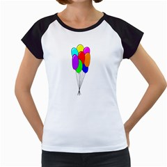 Colorful Balloons Women s Cap Sleeve T