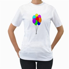 Colorful Balloons Women s T-Shirt (White) (Two Sided)