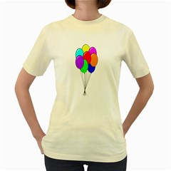 Colorful Balloons Women s Yellow T-Shirt