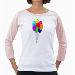Colorful Balloons Girly Raglans