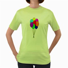 Colorful Balloons Women s Green T-Shirt