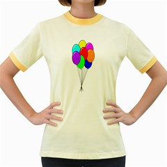 Colorful Balloons Women s Fitted Ringer T-Shirts