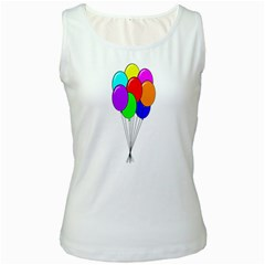 Colorful Balloons Women s White Tank Top