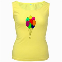Colorful Balloons Women s Yellow Tank Top