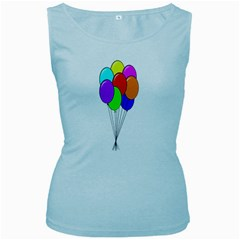 Colorful Balloons Women s Baby Blue Tank Top