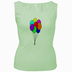 Colorful Balloons Women s Green Tank Top
