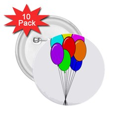 Colorful Balloons 2.25  Buttons (10 pack)