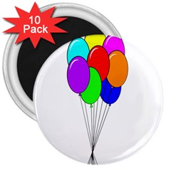 Colorful Balloons 3  Magnets (10 pack)
