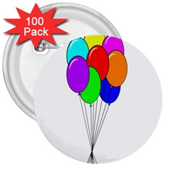 Colorful Balloons 3  Buttons (100 Pack)