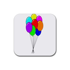 Colorful Balloons Rubber Coaster (square)