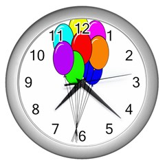 Colorful Balloons Wall Clocks (Silver)