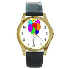 Colorful Balloons Round Gold Metal Watch