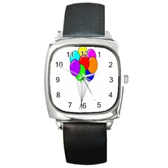 Colorful Balloons Square Metal Watch