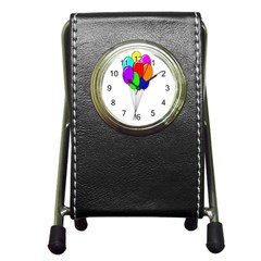Colorful Balloons Pen Holder Desk Clocks