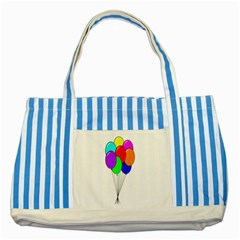 Colorful Balloons Striped Blue Tote Bag