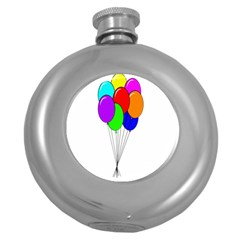 Colorful Balloons Round Hip Flask (5 Oz)