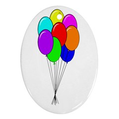 Colorful Balloons Oval Ornament (Two Sides)