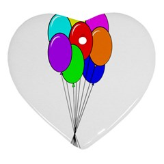 Colorful Balloons Heart Ornament (2 Sides)