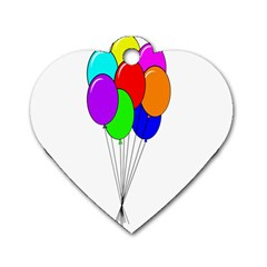 Colorful Balloons Dog Tag Heart (Two Sides)