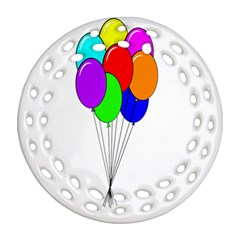 Colorful Balloons Round Filigree Ornament (2Side)