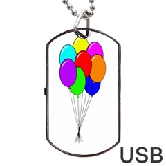 Colorful Balloons Dog Tag Usb Flash (two Sides)