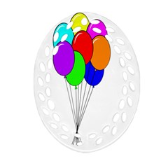 Colorful Balloons Oval Filigree Ornament (2-Side)