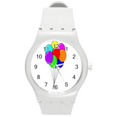 Colorful Balloons Round Plastic Sport Watch (m)
