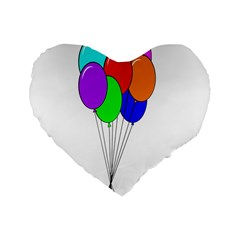 Colorful Balloons Standard 16  Premium Heart Shape Cushions