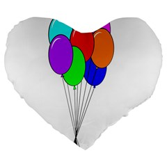 Colorful Balloons Large 19  Premium Heart Shape Cushions