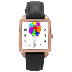 Colorful Balloons Rose Gold Leather Watch