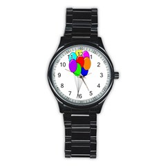 Colorful Balloons Stainless Steel Round Watch