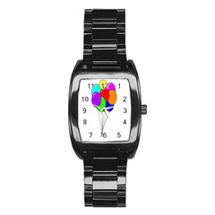 Colorful Balloons Stainless Steel Barrel Watch