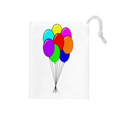 Colorful Balloons Drawstring Pouches (Medium)