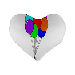 Colorful Balloons Standard 16  Premium Flano Heart Shape Cushions