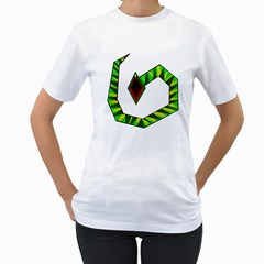 Decorative Snake Women s T-Shirt (White) (Two Sided)