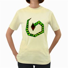 Decorative Snake Women s Yellow T-Shirt