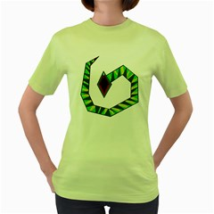 Decorative Snake Women s Green T Shirt