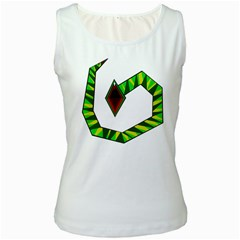 Decorative Snake Women s White Tank Top