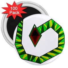 Decorative Snake 3  Magnets (100 Pack)