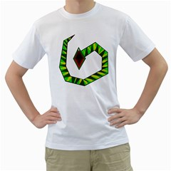 Decorative Snake Men s T-Shirt (White) (Two Sided)